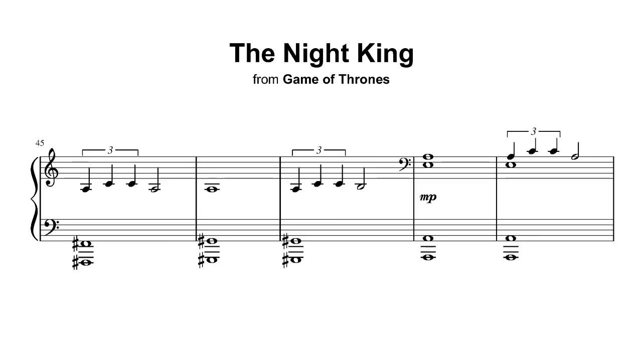 Game Of Thrones Titelmusik Klaviernoten the night king - game of thrones (season 8) - piano sheet music