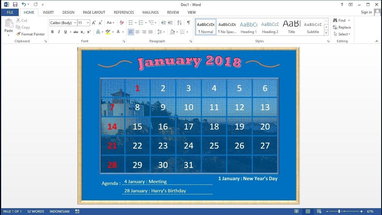microsoft word 2013 calendar