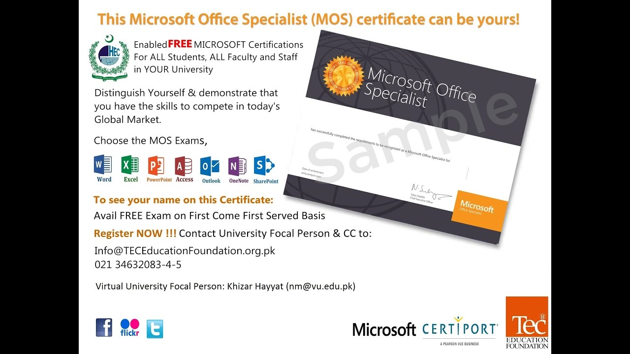 Microsoft Office Specialist MOS – Announcement and ...