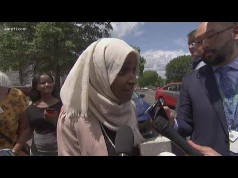 Rep. Ilhan Omar returns to Minnesota, responds to chants
