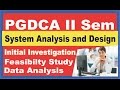 PGDCA II Sem System Analysis and Design Intial Investigation,Feasibilt,Data Analysis