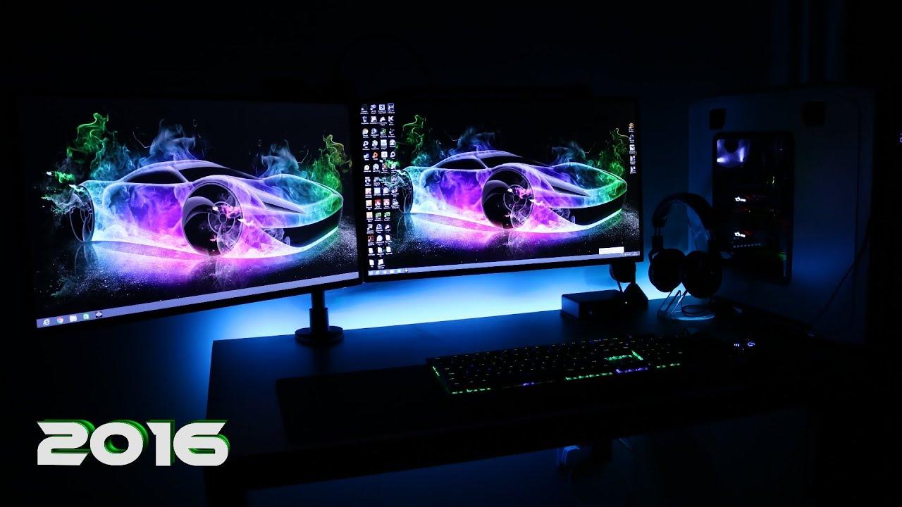 Ultimate Clean Gaming Setup 2016 Evolution Dual Monitors Workstation