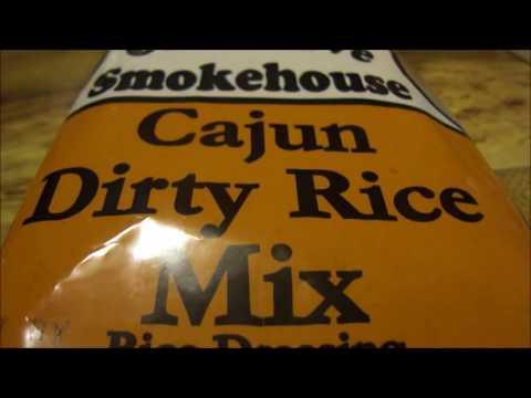Oak Grove Smokehouse Cajun dirty rice w/ hamburg & green onions (Cajun cooking & review video)