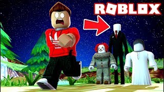 RUN FROM THE SCARY KILLERS OF THE FOREST IN ROBLOX! (Roblox Adventures RedHatter)