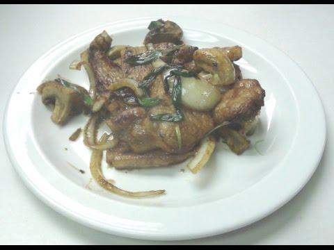 Pork Loin With Onions And Mushroom