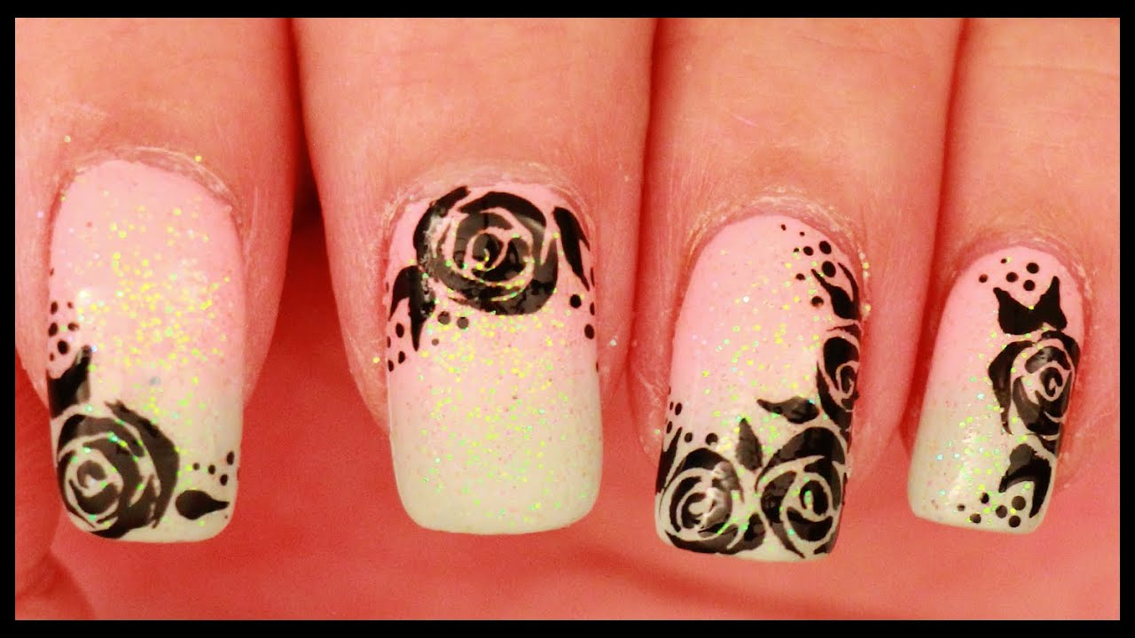 Black Roses On Pastel Ombre Nail Art Youtube
