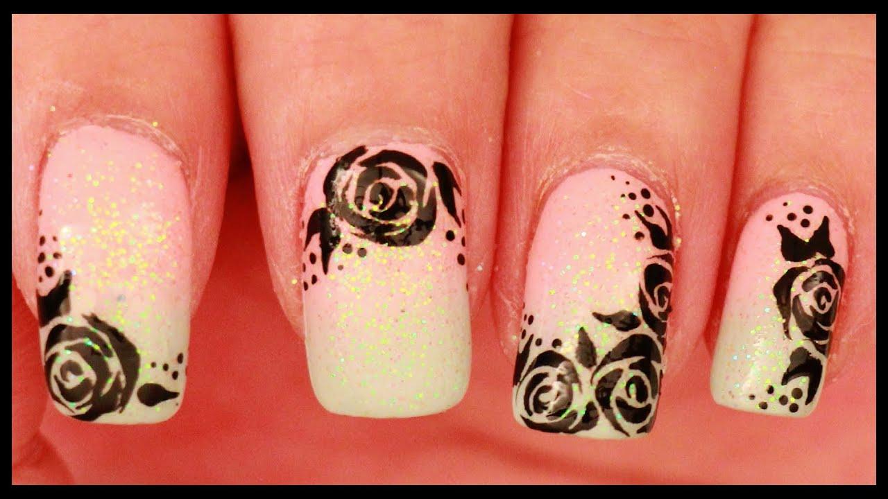 black roses pastel ombre nail