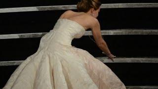 Jennifer Lawrence talks about her Oscar fall