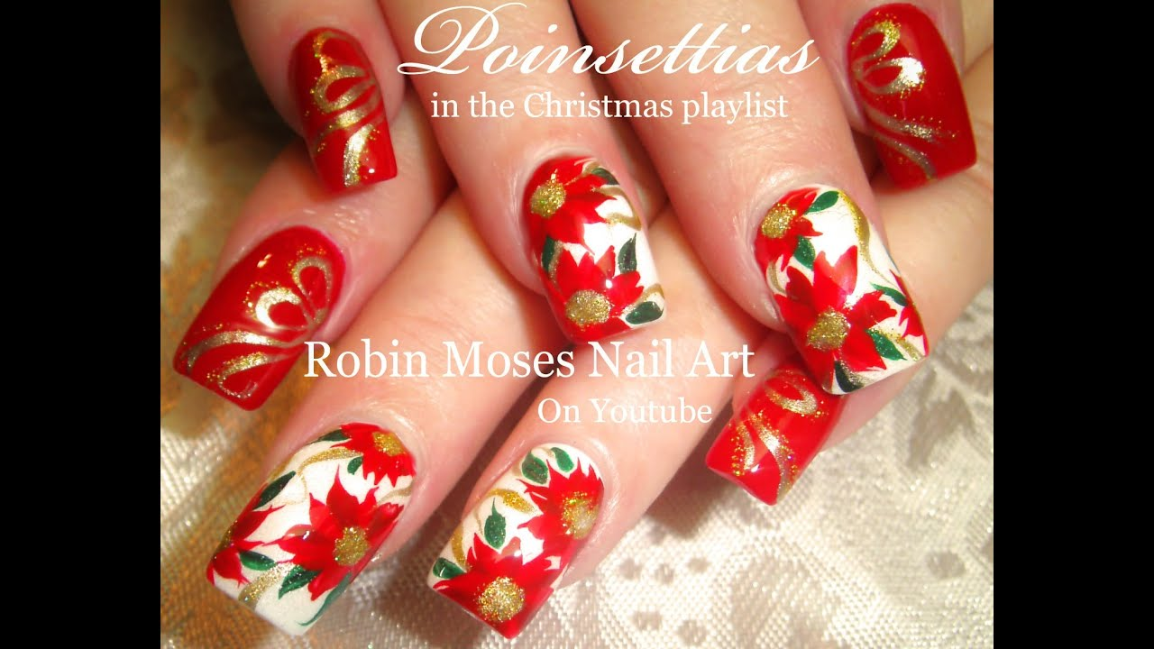 Pretty Christmas Flower Nails | DIY Red Poinsettia Nail Art Design ...
