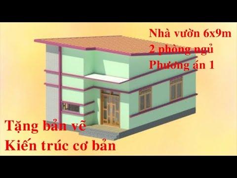 Mẫu nhà vườn 2 phòng ngủ 6x9m   Miễn phí bản vẽ kiến trúc   hoaixd