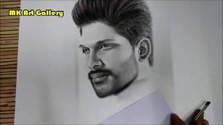 Drawing of Allu Arjun | Charcoal Powder & Charcoal Pencil Sketch | Pencil Portrait