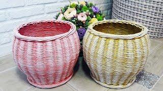 Плетеная корзинка - горшок / Плетение из газетных трубочек