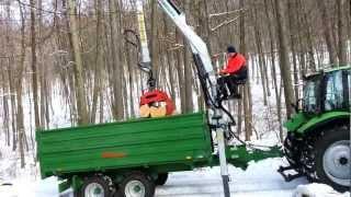 Brennholz laden mit Engel Dreiseitenkipper und 6.50m Forest Master Kran