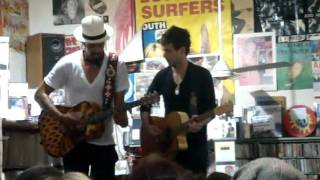 michael franti and j bowman playing at rough trade record shop in london