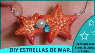 diy estrellas de mar colgantes veraniegos de porcelana fra arcilla polimerica y resina