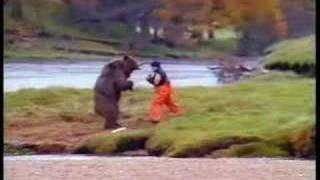 this is kung fu WWE with a man and bear.