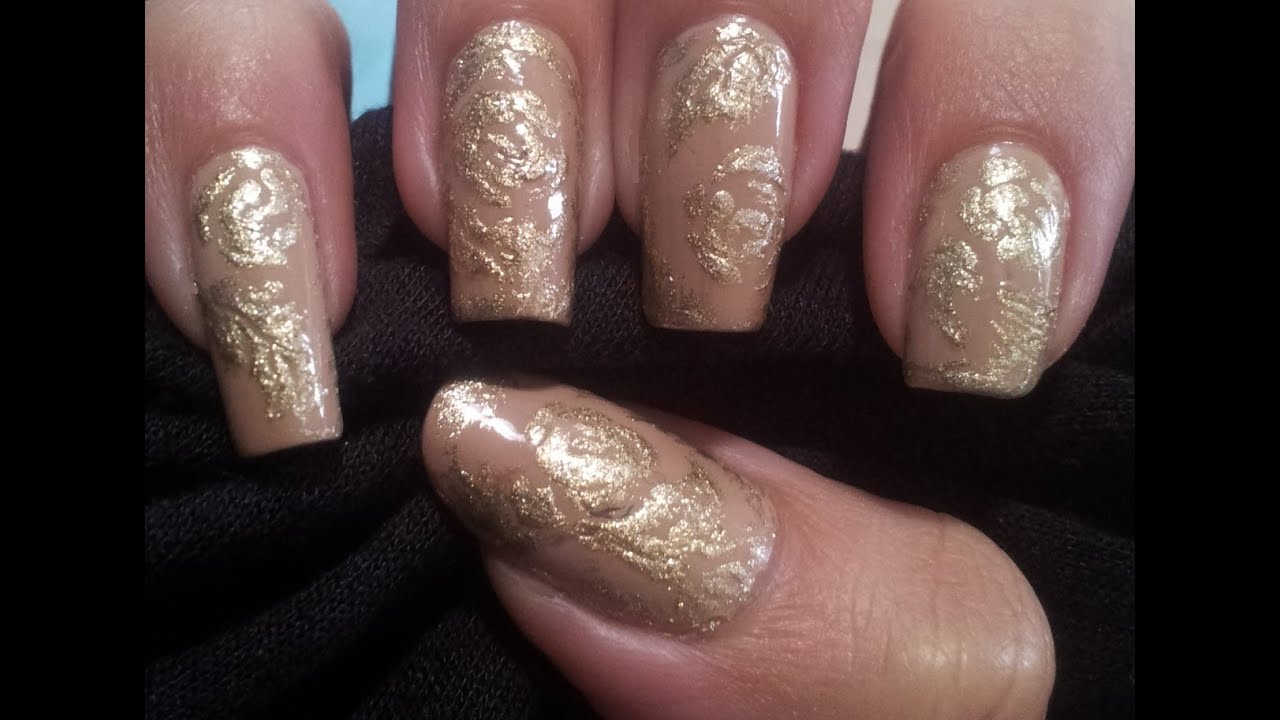 Elegant nude and gold nail art tutorial inspired by keira elegant nude and gold nail art tutorial inspired by keira knightley youtube prinsesfo Image collections