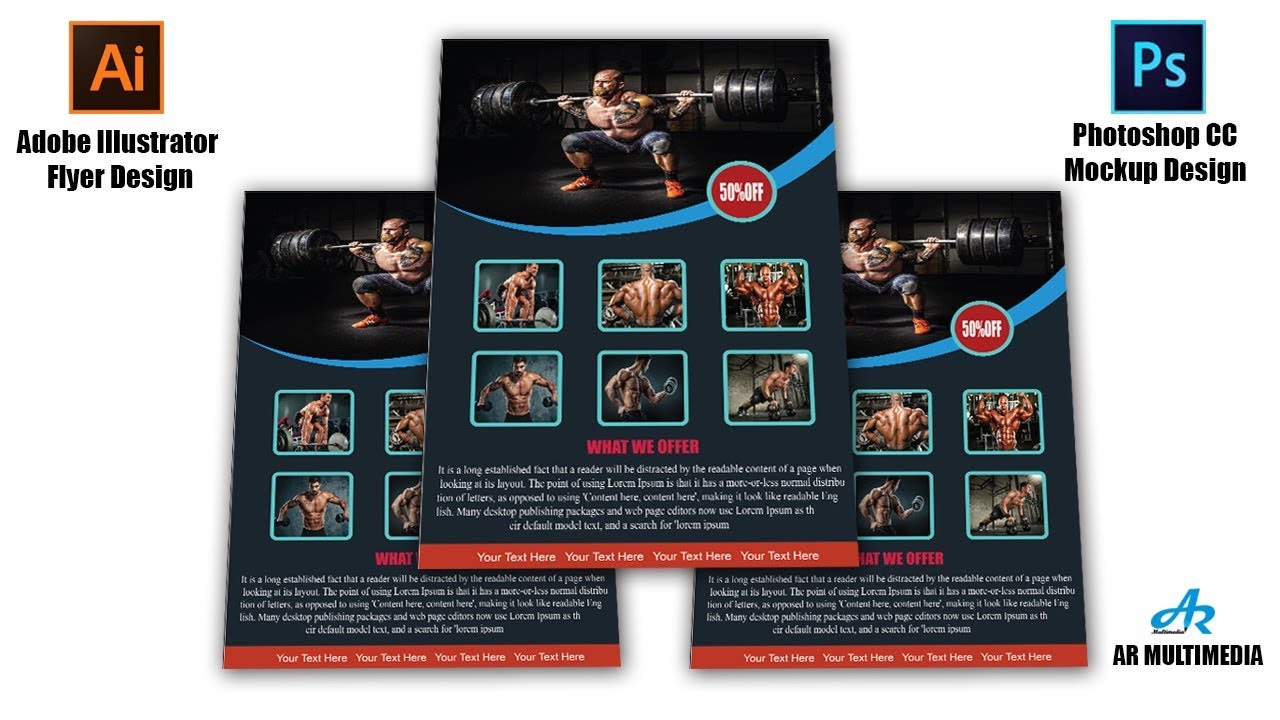 gym fitness flyer design in adobe illustrator cc with photoshop cc