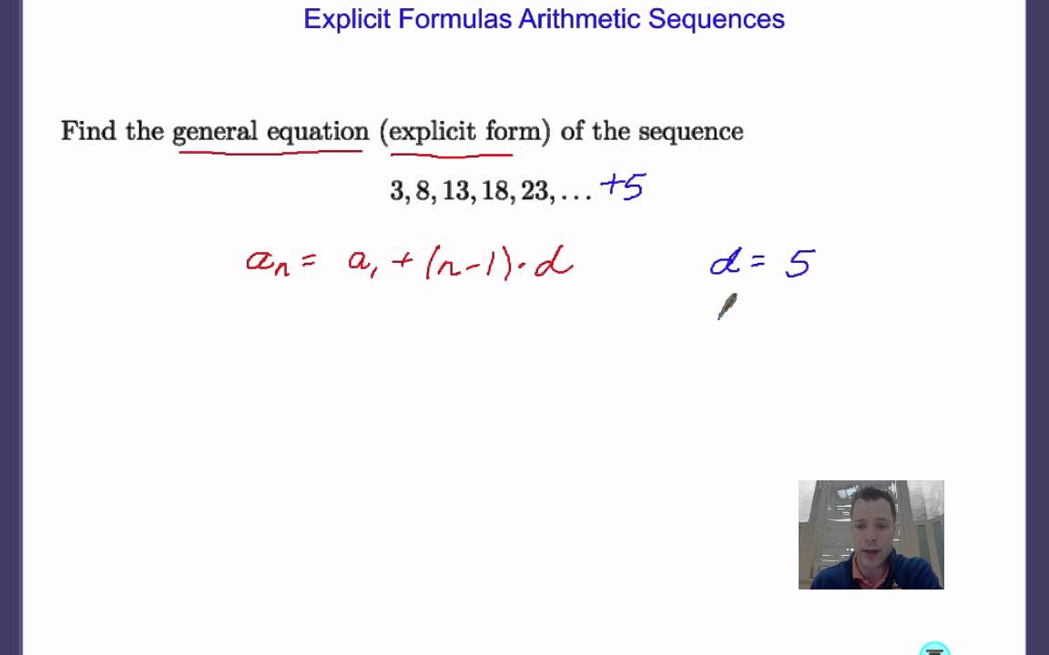 Explicit Formula Arithmetic Sequence - YouTube