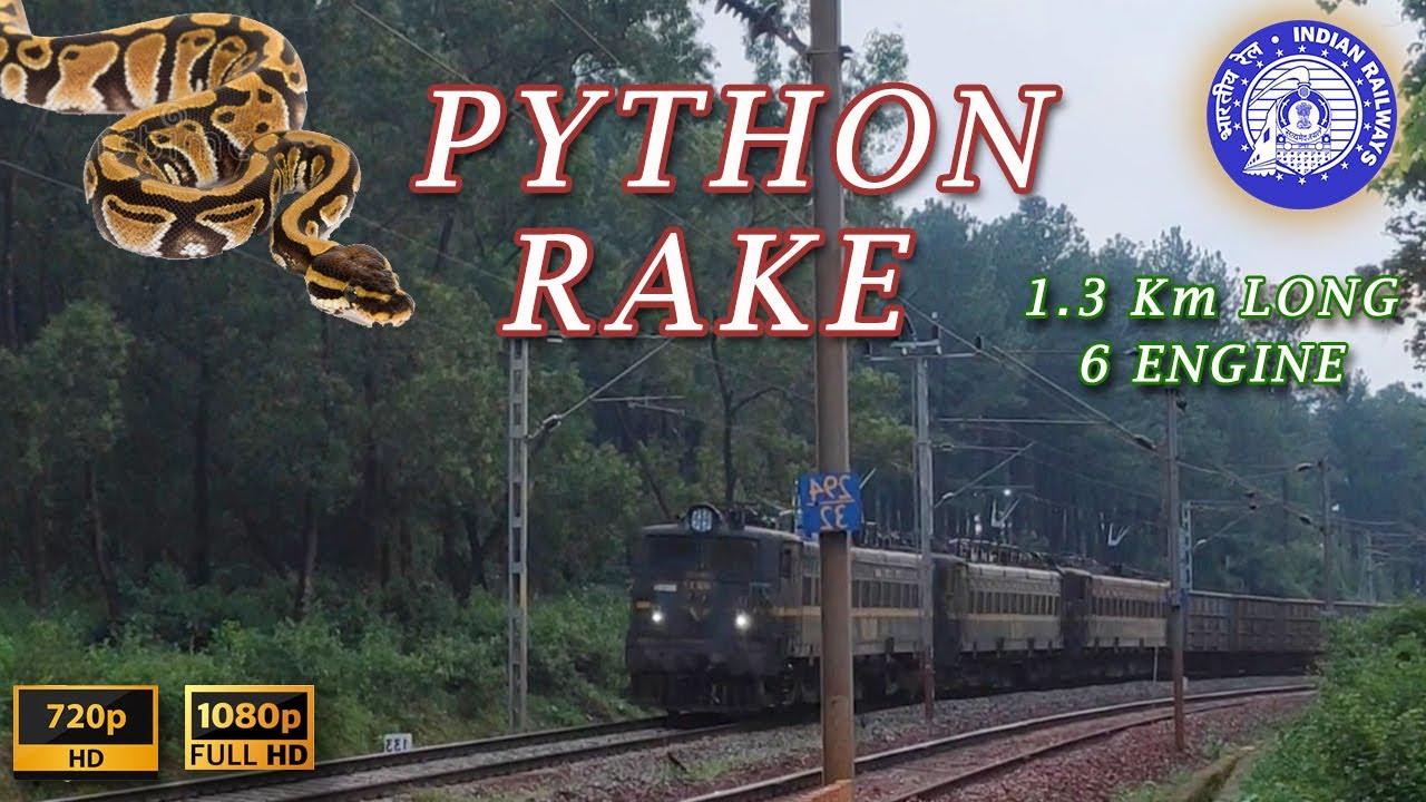 6 LOCO ENGINES & 120 WAGONS, 1.3 KILOMETRE LONG TRAIN, PYTHON RAKE FORMATION WHERE 2 TRAINS FORMS 1