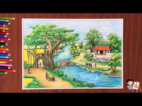 Vẽ tranh phong cảnh: Phong cảnh quê hương / How to draw landscapes.