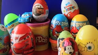 12 SURPRISE EGGS ANGRY BIRDS  Cars Disney Pixar Маша и Медведь  Hello kitty