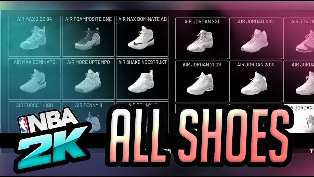NBA 2k20 All New Shoes (JORDANS,NIKE,ADIDAS, AND PUMA)
