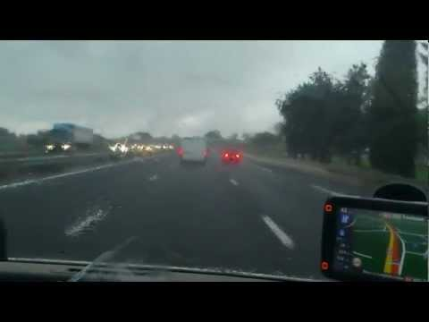 Driving In France-Marseille-Toulouse-Raining Day