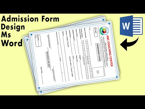 How to make Admission Form Design in Microsoft Word || Coaching Class Admission Form Design in word