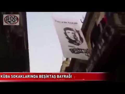 Küba sokaklarında Beşiktaş bayrağı. Halkın Takımı Beşiktaş Pankartı 1 Mayıs 2015