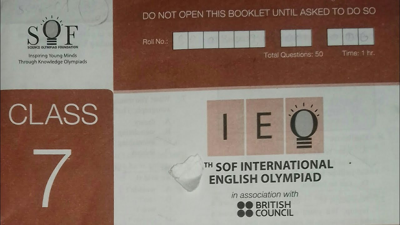 Class 7 IEO(International English Olympiad) 2018-19 question paper by SOF