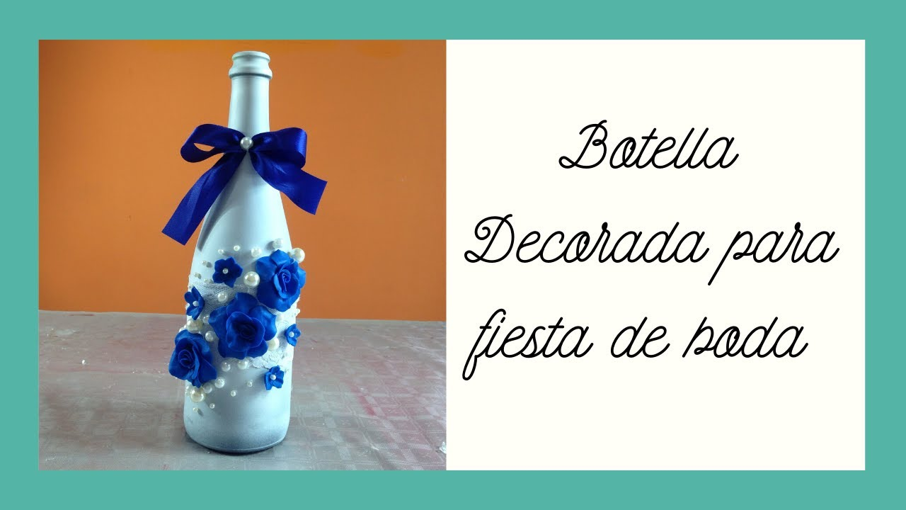 botella decorada para fiesta de boda bottle decorated for wedding youtube. Black Bedroom Furniture Sets. Home Design Ideas