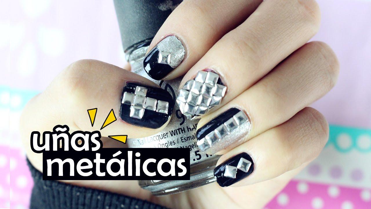 UÑAS METALICAS LINDAS Y FÁCILES | STUD NAILS | AKARI BEAUTY - YouTube