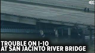Barges hit I-10 bridge over San Jacinto River