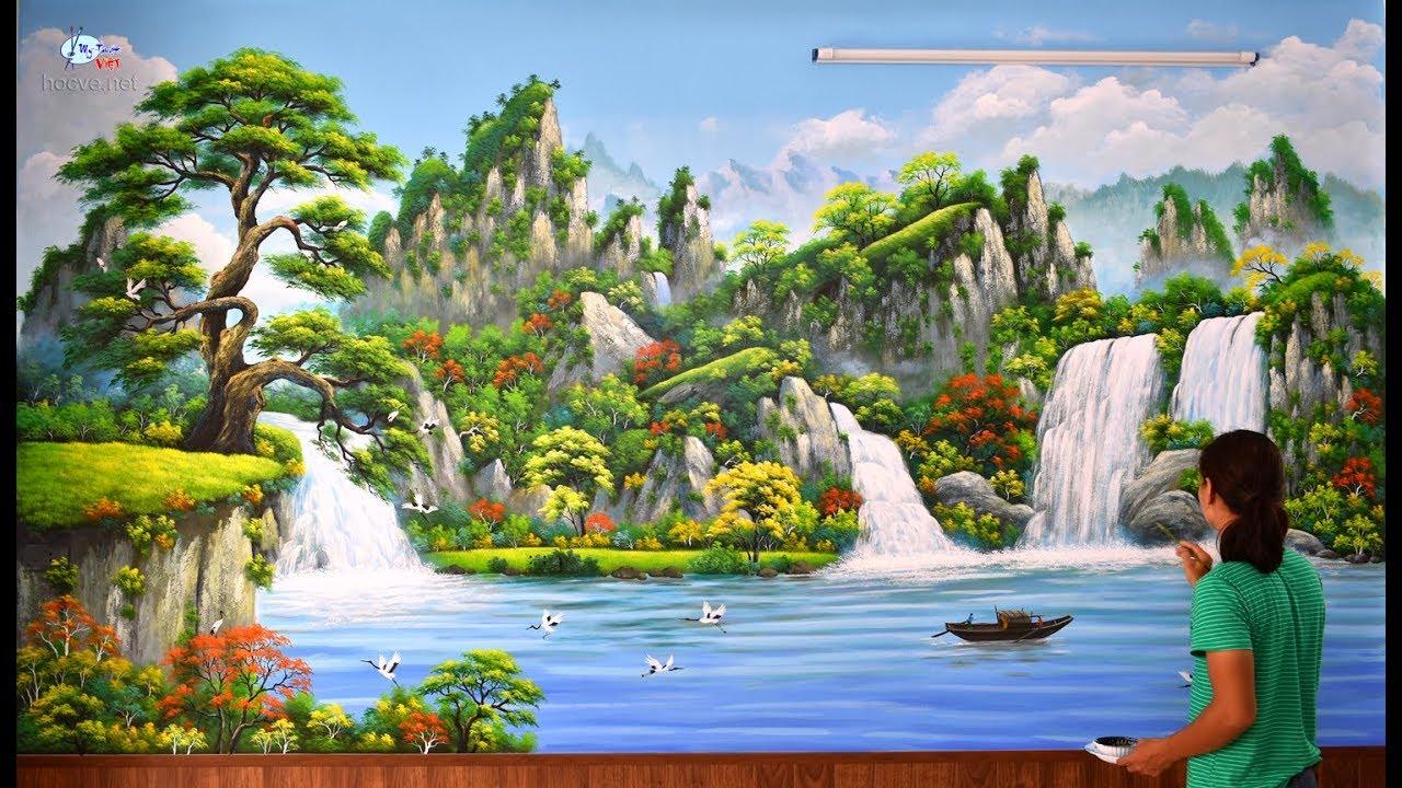 Vẽ tranh tường 3d, phong cảnh sơn thủy. (Thi công vẽ tranh tường, Đào tạo họa sĩ.ĐT: 0969.033.288).