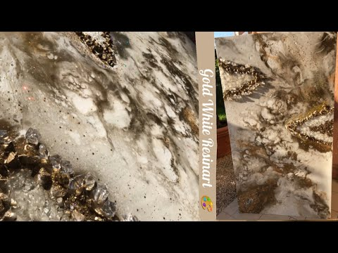 HOW TO MAKE AN EASY RESIN ART  ? White and Gold / #GEODEART #RESINART