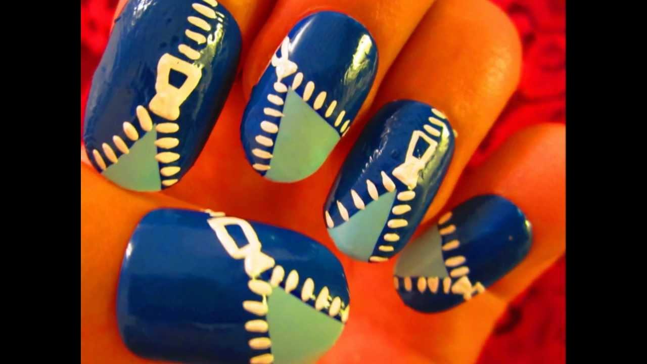Nail Art Tutorial - FUNKY Blue Zipper - YouTube