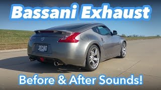 nissan 370z bassani exhaust before after sound comparison fly by