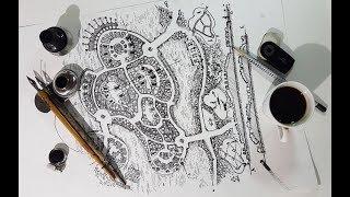 Скетчинг, ландшафтный проект, быстрый рисунок пером и тушью, ландшафтное проектирование