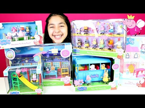Thumbnail: Peppa Pig Toys! School Playground School Bus Enchanted Tower Tea party playset|B2cutecupcakes