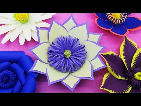 Wedding Background Paper Flower Making Tutorial With Free Template | Backdrop Flowers | DIY Paper