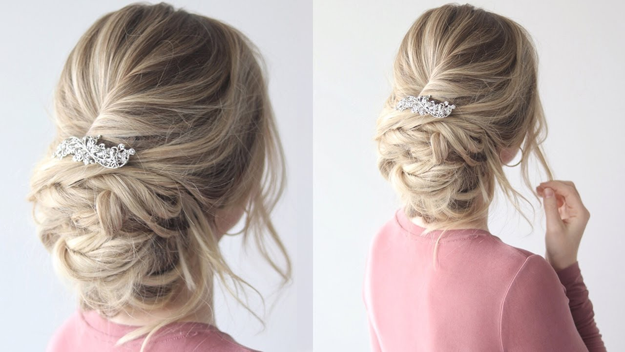 messy updo bridal hairstyle