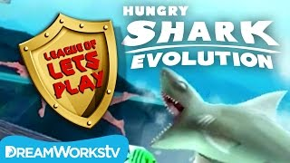 SHARK ATTACK! Hungry Shark Evolution Speedrun | LEAGUE OF LET'S PLAY