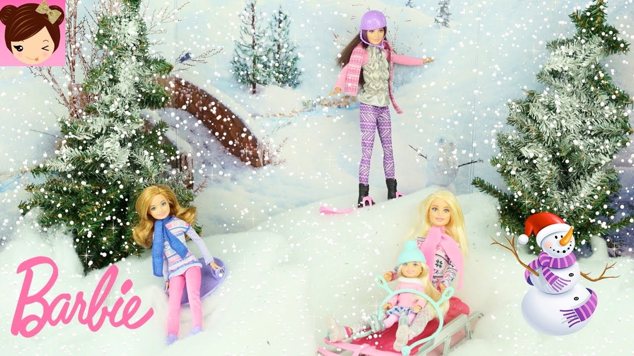 Barbie Sisters Holiday Fun Playing in the Snow - Ice Skating ...