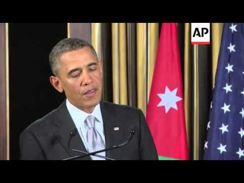 Obama talks about Syria crisis at news conference in Jordan