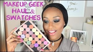 MAKEUP GEEK EYESHADOW HAUL + SWATCHES | On Dark Skin
