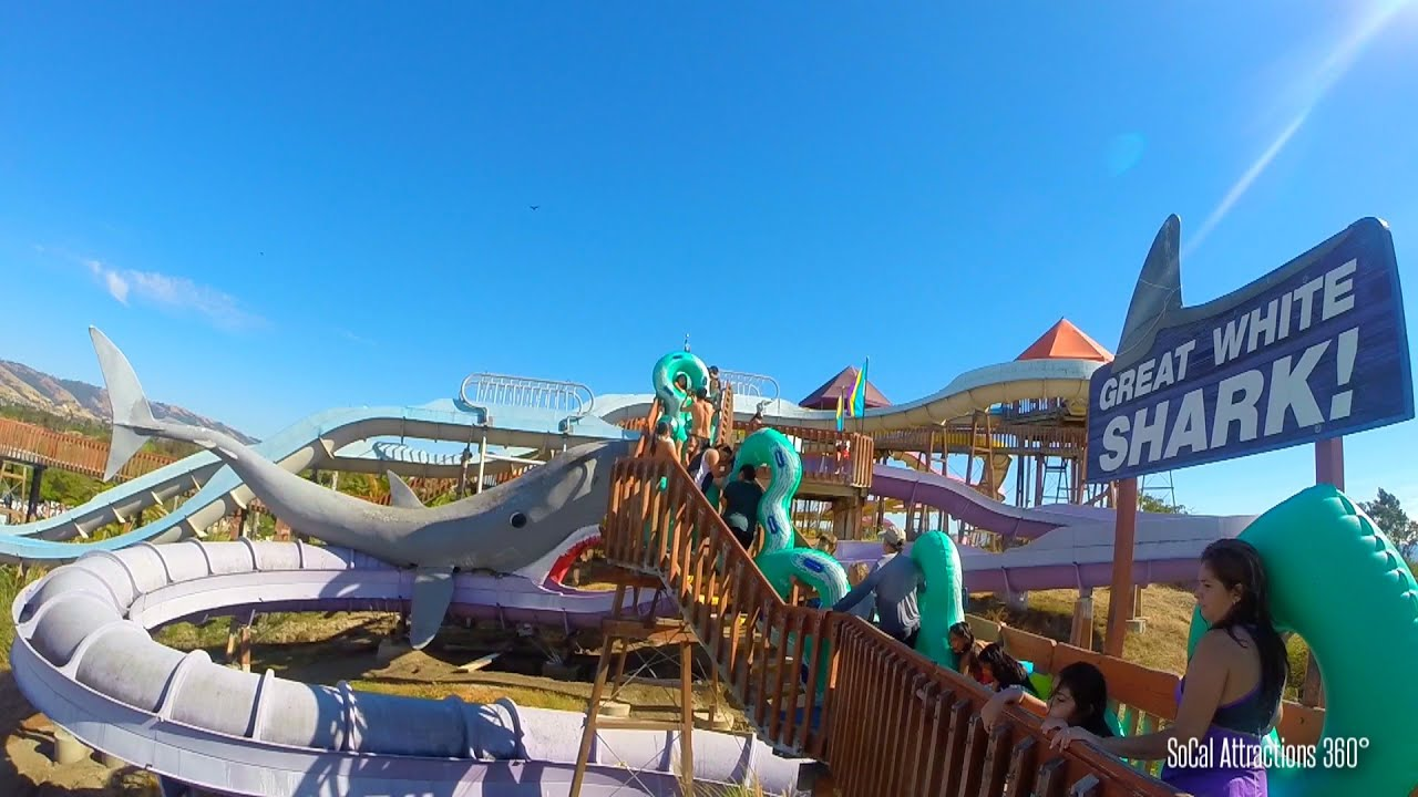 HD POV) Great White Shark Water Slide POV - Raging Waters Water Park ...