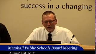 08.21.2017 Marshall Public Schools Board Meeting