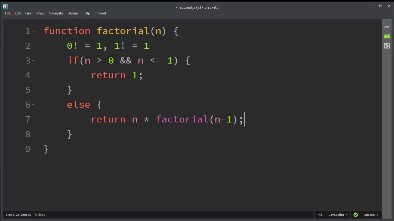 How to Make a Factorial Function in JavaScript by using Recursion