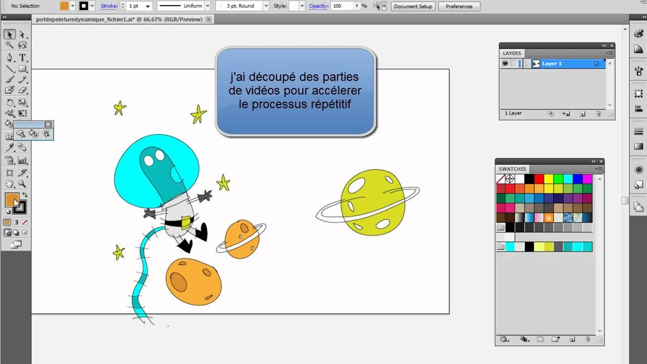 Pot De Peinture Dynamique Illustrator Youtube